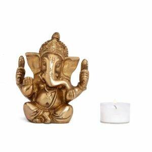 Estátua Ganesha Pequena - Bronze 5